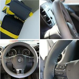 Grey Pvc Leather Steering Wheel Stitch Wrap Cover Needle Thread Diy Fit Nissan