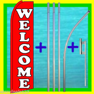 Welcome Swooper Flag 15 Tall Pole Mount Feather Flutter Bow Banner