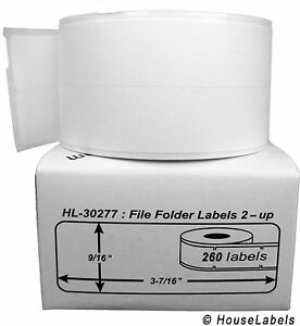 15 Rolls Of 260 File Folder Labels 2 up For Dymo Labelwriters 30277