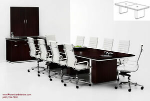10 Foot Modern Expandable Conference Table With Grommets And Wire Management