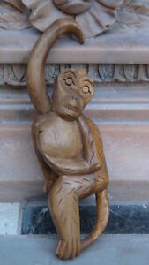 Antique 19c Chinese Wood Hand Carved Statue Of Monkey Hanging On