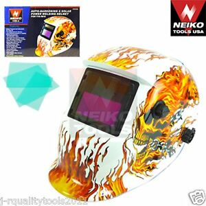Auto darkening Solar Power Welding Helmet For Tig mig Skeleton Flame
