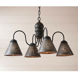 Cambridge Four Arm Wooden Chandelier Light With Tin Shades In Black Over Red