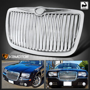 For 2005 2010 Chrysler 300 300c Chrome Vertical Front Bumper Hood Grille Grill