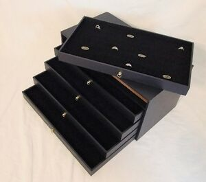 5 Removable Drawer Ring Storage Case Holds 360 Rings W Black Inserts