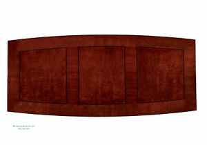 12 Foot Cherry Wood Modern Boat Shaped Conference Table Square Pedestal Legs