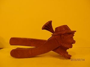 Gnome Nut Breaker Hand Carved Wood 1900 1940 Black Forest Swiss