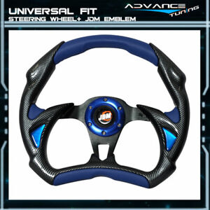 Universal 320mm Blue Pvc Leather Carbon Fiber Steering Wheel Battle Style Type