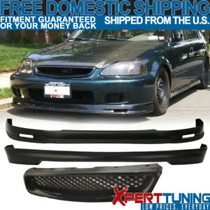 Fit 1999 2000 Civic Ek 3dr Mg Front Rear Bumper Lip T r Front Hood Grill