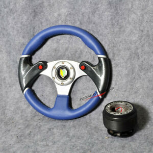 For Vw Jetta 320mm Steering Wheel Black Blue 2 Tone 6 hole Pvc Hub Adapter