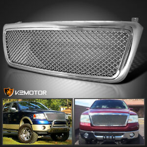 Fit 2004 2008 Ford F150 Chrome Honeycomb Style Front Upper Hood Grill Grille Abs