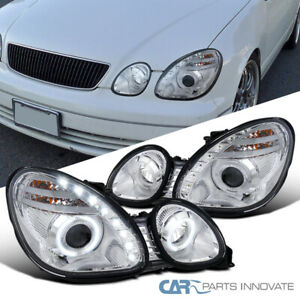 Fit 98 00 Lexus Gs300 Gs400 Clear Led Drl Strip Halo Projector Headlights Pair