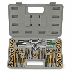 40 Pc Piece Titanium Standard Sae Size Inch Steel Tap And Die Tool Set Kit
