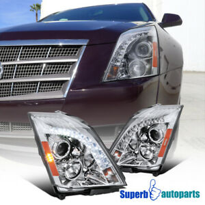 2008 2014 Cadillac Cts Smd Led Drl Projector Headlights Chrome Clear