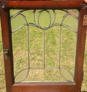 Very Special All Heavy Beveled Acid Etched Art Nouveau Leaded Glass Window