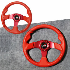 Universal Red Pvc Leather 6 Holes 320mm Racing Sports Steering Wheel Horn