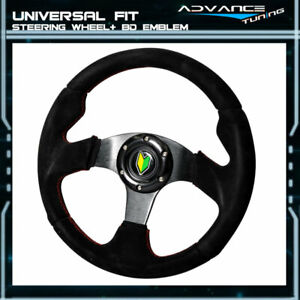 Universal Racing Sports Steering Wheel 320mm Black Suede Spoke Red Stitch Horn