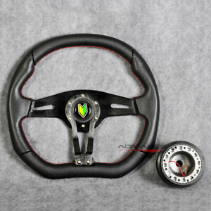 350mm Racing Steering Wheel Black Pvc Spoke Red Stitch Hub Adapter Horn Honda