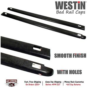72 41451 Westin Black Bed Rail Caps Dodge Ram 6 4 Bed 2002 2008