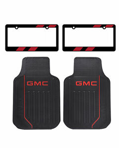 2pcs Set Red Gmc Logo Car Truck Suv Front Black Rubber Floor Mats Made In Usa