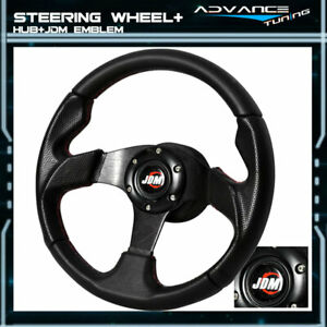 320mm Black Pvc Leather Red Stitch 6 hole Steering Wheel Jdm Horn Hub Adapter