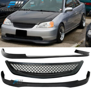 Type R Front Rear Bumper Lip Front Hood Grill For 01 03 Honda Civic
