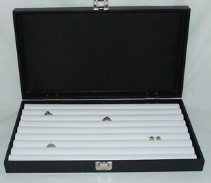 New 8 Row Tufted Ring Traveling Jewelry Display For 110 Rings White