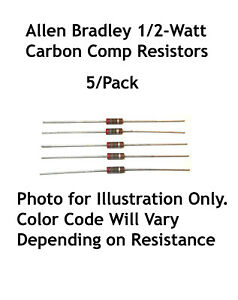 220 Ohm 1 2 watt Allen Bradley Carbon Comp Resistors 5 lot