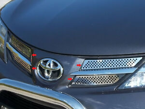 4pc Stainless Steel Overlay Grille Trim Fits 2013 2014 2015 Toyota Rav 4