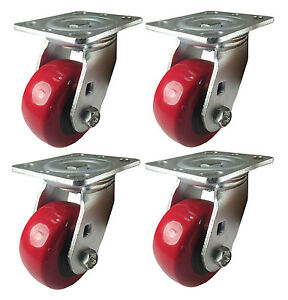 4 X 2 Heavy Duty polyurethane Wheel Caster 4 Swivels