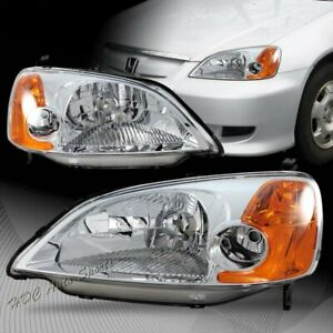 For 2001 2003 Honda Civic Jdm Chrome Housing W Amber Reflector Headlights Lamps