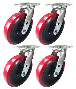 8 X 2 Heavy Duty polyurethane Wheel Caster 4 Swivels