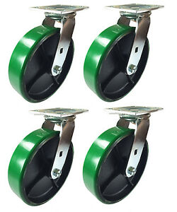 8 X 2 Green Polyurethane On Cast Iron Casters 4 Swivels