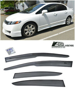 For 06 11 Civic Mugen Ii Style Window Rain Guard Visors 4drs Sedan Honda Jdm Si