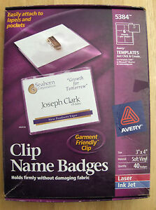 40 Avery 5384 Clip Name Badge Holders W inserts 3 x4