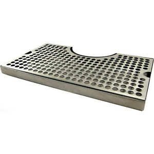 12 Surface Mount Stainless Steel Drip Tray No Drain W Tower Cutout Bar Pub