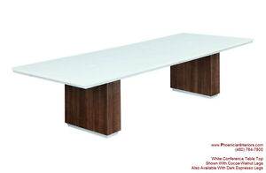 Modern 10 Foot White Conference Table And 8 Chairs Set White Black Brown Chairs