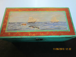 Old Signed Whale Painting On Seaman S Chest