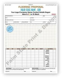 Flooring Floor Proposal Work Order Invoice Copy 2 Part Forms Book Sets 8 5 X 11