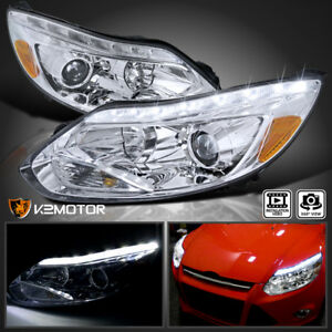 Fits 2012 2014 Ford Focus Led Drl Signal Clear Projector Headlights Left right