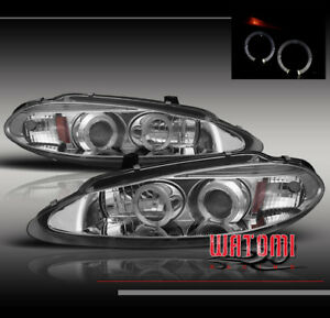 98 04 Dodge Intrepid Dual Halo Projector Headlight Lamp Chrome 99 00 01 02 03 Se