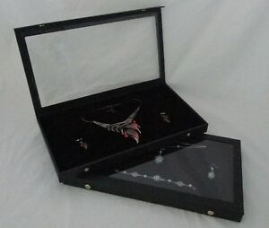 Clear Top Jewelry Display Cases With Black Pad Package Of 2