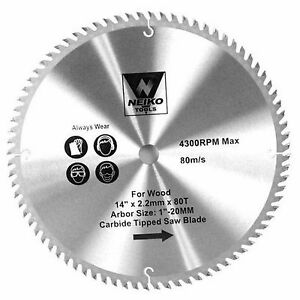 Neiko 10769a 14 X 80 Tooth Carbide Tipped Wood Saw Blade New
