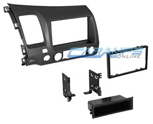 06 11 Civic Gray Single Or Double 2 Din Car Stereo Installation Dash Trim Kit