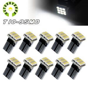 10x White T10 Side Wedge Car Led Interior Dome Light Bulbs W5w 168 2825 192 158