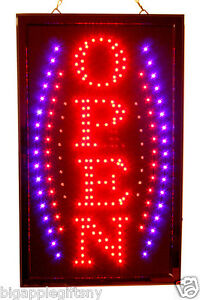 Large Vertical Animated Led Open Sign W Motion On off Switch 21 X 13 020