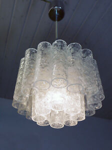 Crystal Glass Tube Chandelier Pendant Lamp Doria Germany Space Age 1960s White