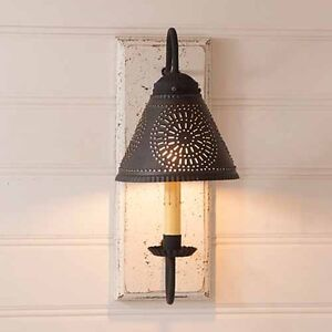 Vintage White Crestwood Wood Wall Sconce With Tin Shade Irvins Country Tinware