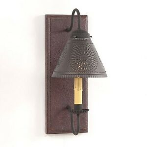 Crestwood Wood Primitive Wall Sconce With Tin Shade In Plantation Red
