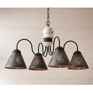 Cambridge Four Arm Wooden Chandelier Light With Tin Shades In Vintage White